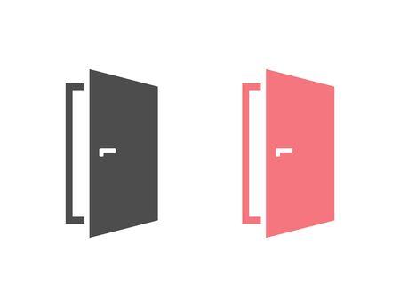 Door vector icon set white on white Ilustracja