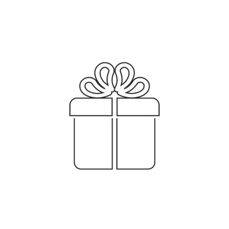Gift box line icon flat style. Vector illustration