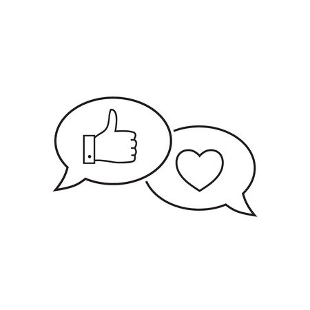 Like hand line icon. Chat bubble design. Thumbs up finger sign. Brand ambassador gesture symbol. Outline concept. Thin line like hand icon. Vector 写真素材 - 139387667