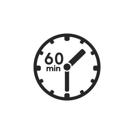 Clock icon. sign 60 min. Vector on white  イラスト・ベクター素材