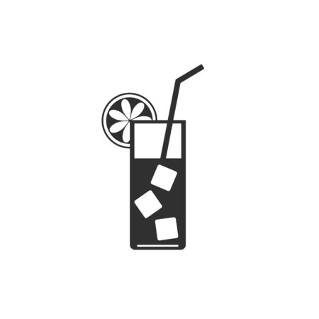 Cocktail icon on flat style. Vector