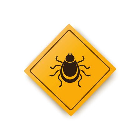 Ticks warning mite bug icon. Encephalitis parasite icon. Vector illustration of tick warning sign Ilustracja