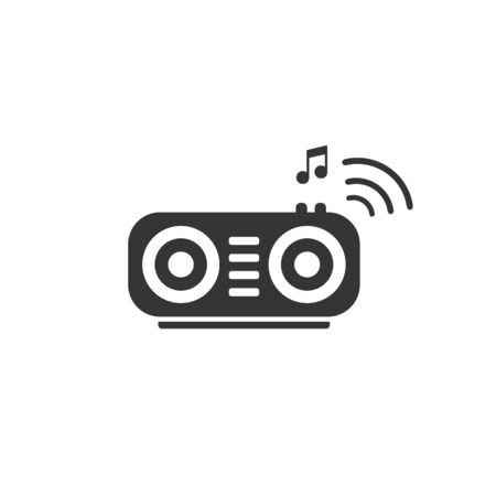 Wireless speaker with radio waves and musical note vector icon