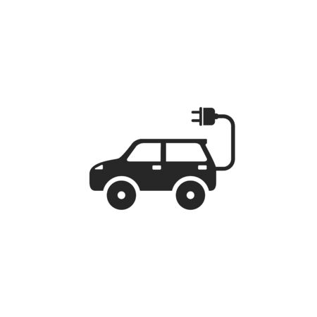 Electric auto icon. Flat design. Vector illustration