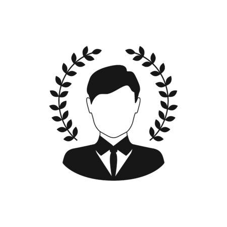Best award wreath for businessman. Vector illustration Ilustracja