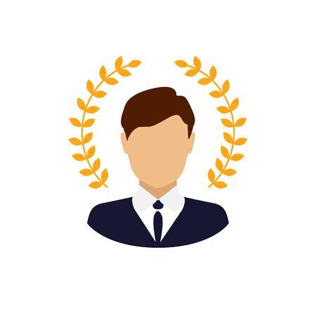 Best award wreath for businessman. Cartoon. Vector illustration Ilustracja