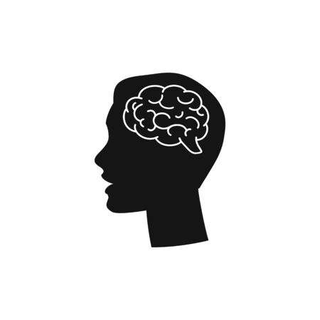 Head with brain vector icon in moden flat