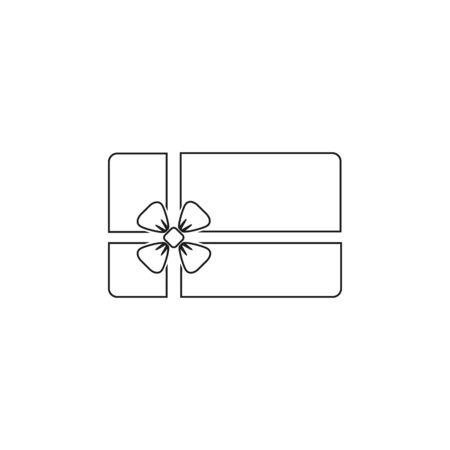 Gift card line icon vector illustration in modern flat Illustration