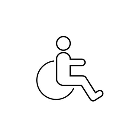 Disabled line icon vector illustration. wheel chair symbol Ilustracja