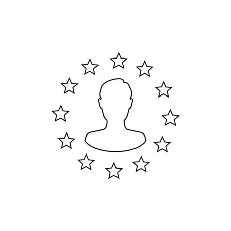 Stars of the European Union man silhouette inside line icon. Brexit concept. Vector