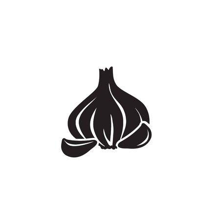 Graphic garlic silhouette icon. Vector