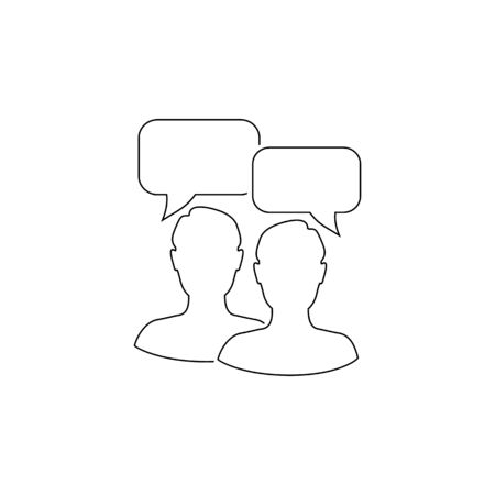 Talk people line icon in flat style. Man with speech bubble illustration on white background. Talk chat business concept
