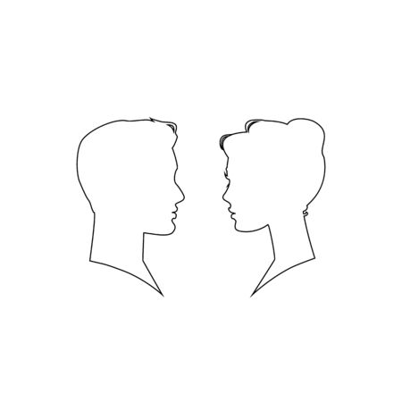 Man and woman silhouette face to face. Line icon. Vector illustration Illusztráció