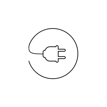 Plug vector line icon, electric symbol. Simple, flat design for web or mobile app Vectores