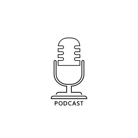Podcast radio line icon illustration. Studio table microphone with broadcast text podcast. Webcast audio record concept logo Иллюстрация