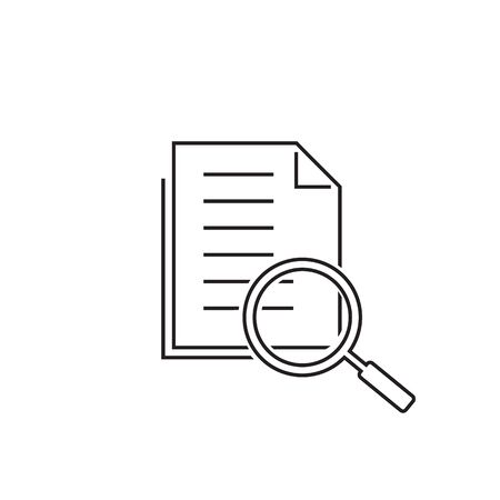 Scrutiny document plan line icon in flat style. Review statement vector illustration on white isolated background. Document with magnifier loupe business concept