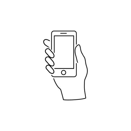 Hand hold the smartphone line icon. Vector in modern flat style
