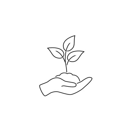 Leaf and hand, care nature line icon vector in modern flat style