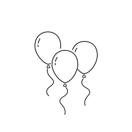 Balloons line icon isolated on white background. Vector Illustration