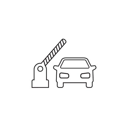 Open barrier, car vector line icon on white