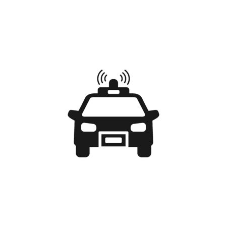 Police car icon on white. Vector illustration