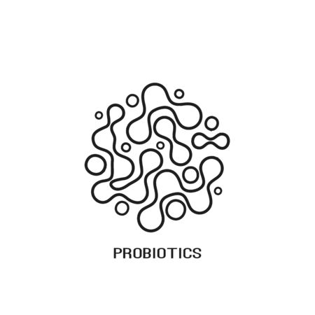 Probiotics bacteria logo design line icon. Healthy nutrition ingredient for therapeutic in modern flat style Stock Illustratie