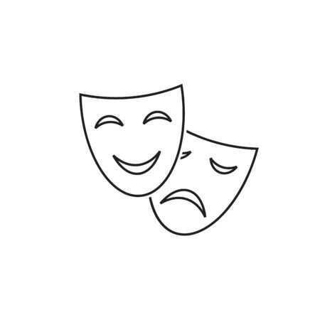Happy and sad theater mask vector line icon in modern flat style