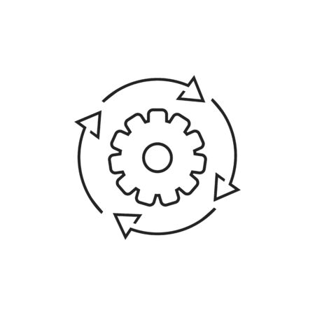 Workflow process line icon in flat style. Gear cog wheel with arrows vector illustration on white isolated background. Workflow business concept