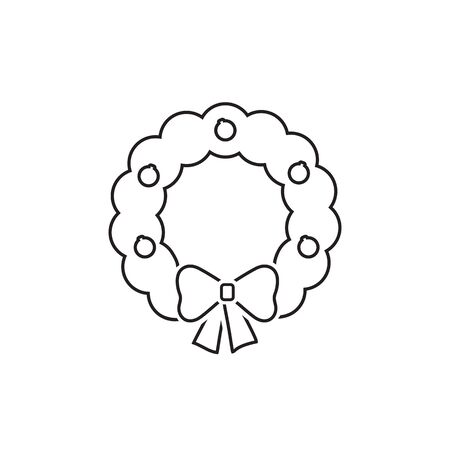 Merry Christmas wreath line icon in simple style on a white background vector Stock Illustratie