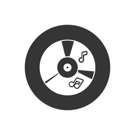 CD music icon in flat style. Vector