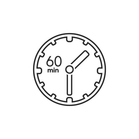 Clock line icon. sign 60 min. Vector on white  イラスト・ベクター素材