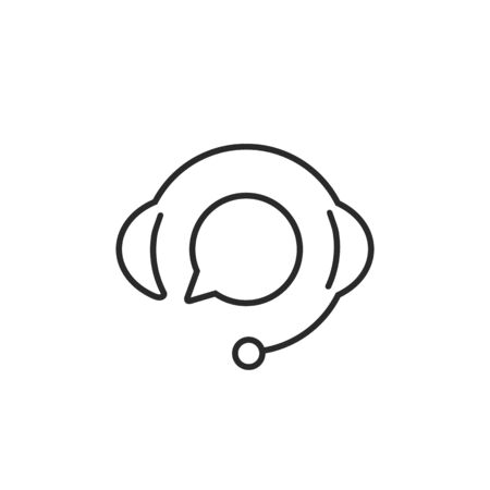 Support with speech bubble on white background. Flat vector support line icon design