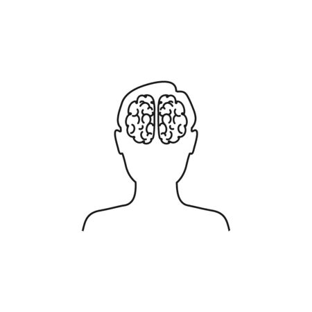 Head with brain vector line icon in flat  イラスト・ベクター素材