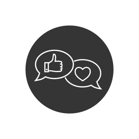 Like hand line icon. Chat bubble design. Thumbs up finger sign. Brand ambassador gesture symbol. Outline concept. Thin line like hand icon. Vector