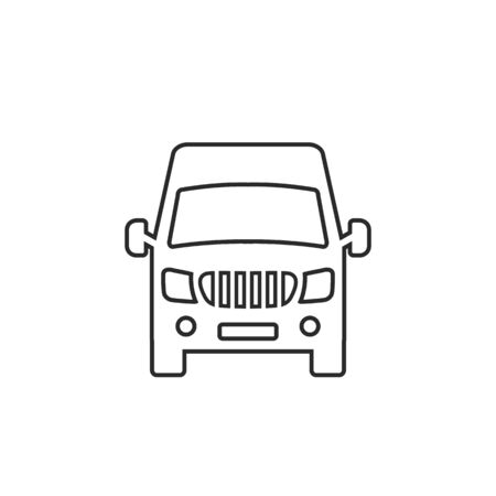 Van front view line icon isolated on white background. Vector