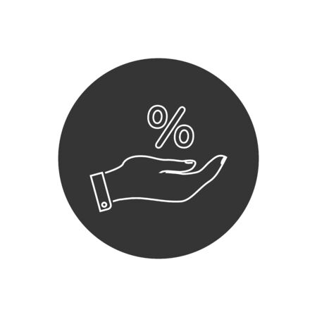 Percentage on hand line icon, logo on a white background. Vector