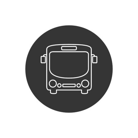 Bus line icon symbol vector on white in modern flat style