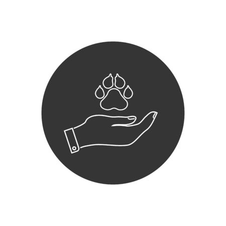 Charity and donation icon, logotype, badge. Hand holding animal paw. Friendship, Generous, volunteer center, fundraising event, organization, shelter with text place. Vector outline icon Stockfoto - 146653842