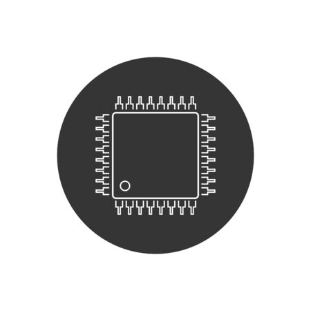 Computer Chip line icon vector illustration in modern flat style