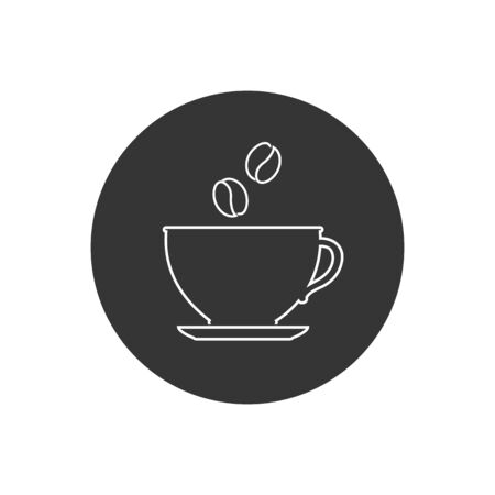 Cup of coffee. Coffee cup line icon. Coffee icon isolated on white background in modern flat