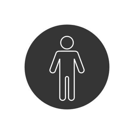 Man Lavatory Line Icon. Men Rest Room Sign. Toilet for Gents Symbol Vector. Males WC Illustration Logo Template.