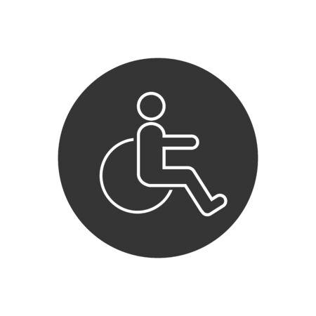 Disabled line icon vector illustration. wheel chair symbol Illustration