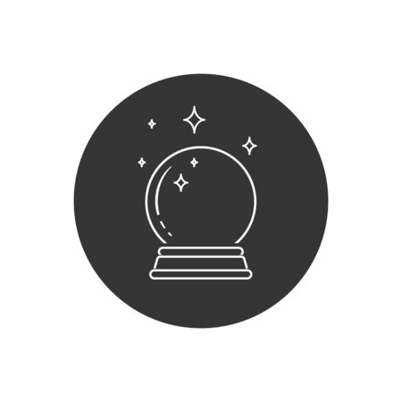 Crystal Ball Magic Line Icon Vector Logo Template