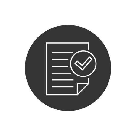 Compliance document line icon in flat style. Approved process vector illustration on white isolated background. Checkmark business concept Vettoriali