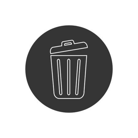 Trash line icon trendy flat design. Vector Vettoriali