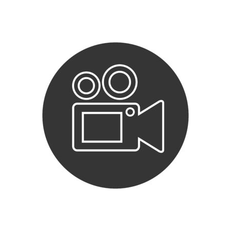 Video camera line icon, Movie, film, picture sign isolated on white background. Vector