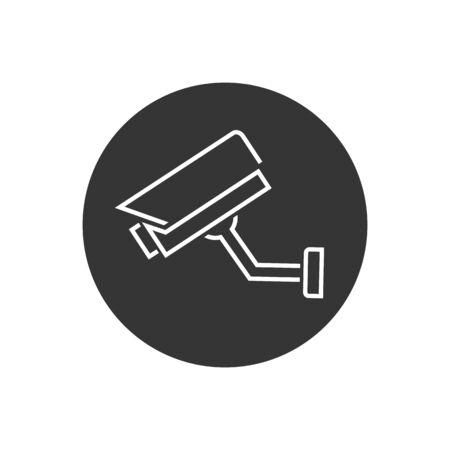 Fixed CCTV, Security Camera Line Icon Vector Template Illusztráció