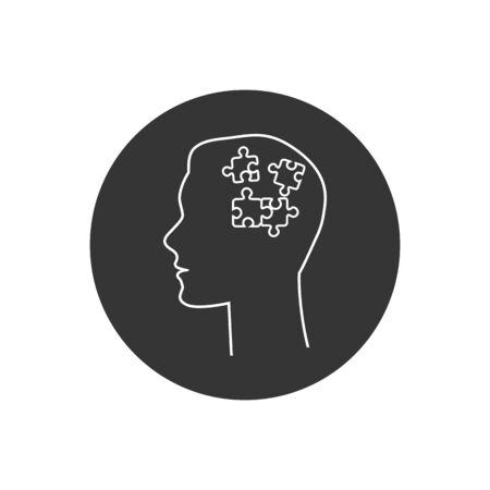Human had flat line icon with puzzle inside. Vector illustration