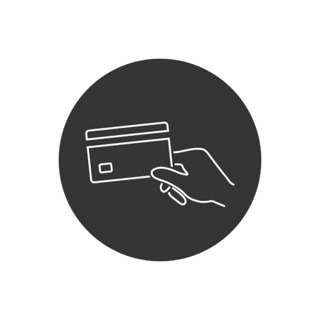 Hand holding a credit card line icon. Vector