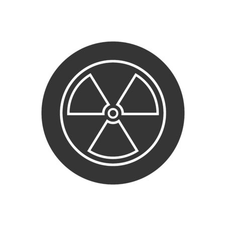 Black Radioactive line icon isolated on white background. Radioactive toxic symbol. Radiation Hazard sign. Vector Illustration